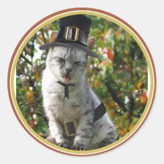Gato del peregrino pegatina redonda