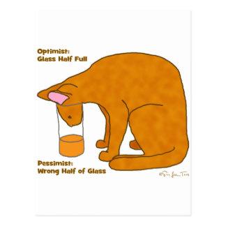 Gato del pesimista del optimista tarjetas postales