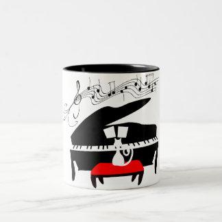 Gato del piano taza de café de dos colores