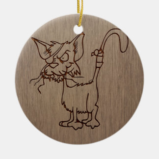 Gato del pirata grabado en el diseño de madera adorno redondo de cerámica