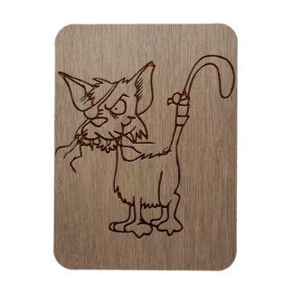 Gato del pirata grabado en el diseño de madera iman rectangular