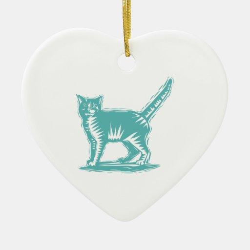 Gato del primitivo del trullo adorno de cerámica en forma de corazón