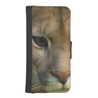 Gato del puma fundas cartera de iPhone 5