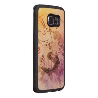 Gato del reloj de la mujer del vintage del color funda de madera para samsung galaxy s6 edge