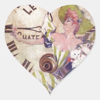 Gato del reloj de la mujer del vintage del color pegatina en forma de corazón