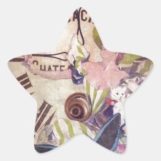 Gato del reloj de la mujer del vintage del color pegatina en forma de estrella