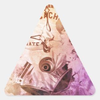 Gato del reloj de la mujer del vintage del color pegatina triangular
