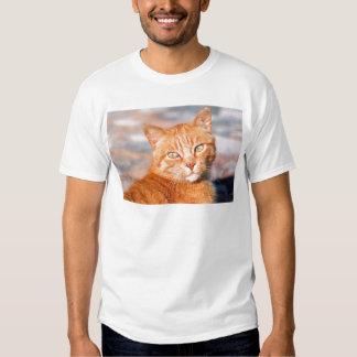 Gato del rojo del retrato camisas