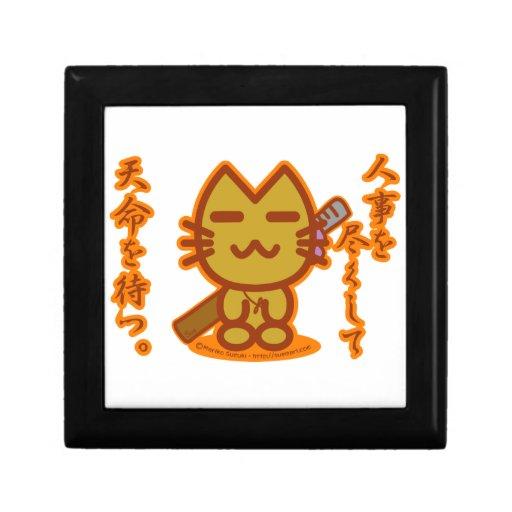 Gato del samurai joyero cuadrado pequeño