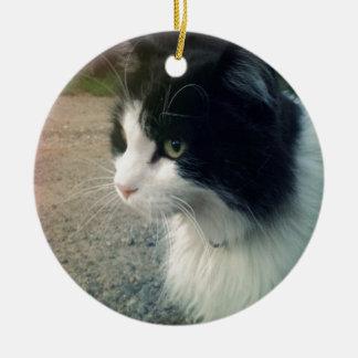Gato del smoking adorno navideño redondo de cerámica