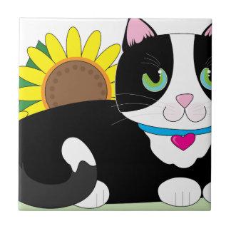 Gato del smoking azulejo cuadrado pequeño