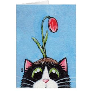 Gato del smoking con el tulipán en la cabeza - tarjeta de felicitación