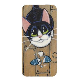 Gato del smoking con la pintura rasgada del ratón funda acolchada para iPhone