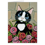 Gato del smoking con la tarjeta de felicitación ro