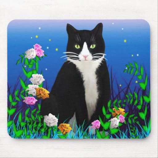 Gato del smoking con las flores Mousepad Alfombrillas De Raton