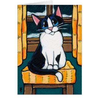 Gato del smoking en la pintura de la ventana Nevad Felicitación