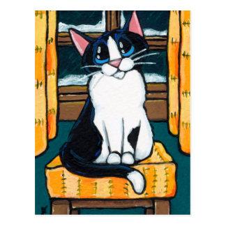 Gato del smoking en la pintura de la ventana Nevad Tarjetas Postales