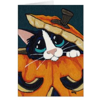 Gato del smoking en la tarjeta de Halloween de la