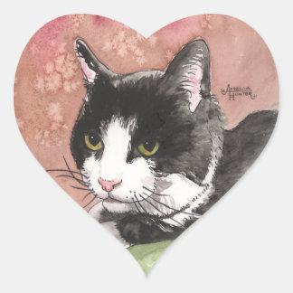 Gato del smoking pegatina en forma de corazón