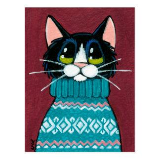 Gato del smoking que lleva una pintura fea del sué postales