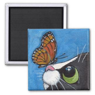 Gato del smoking y mariposa del virrey imán cuadrado