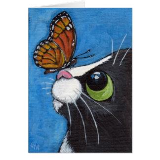 Gato del smoking y mariposa del virrey tarjeta de felicitación