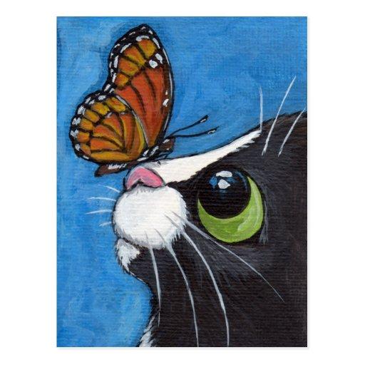 Gato del smoking y mariposa del virrey postales