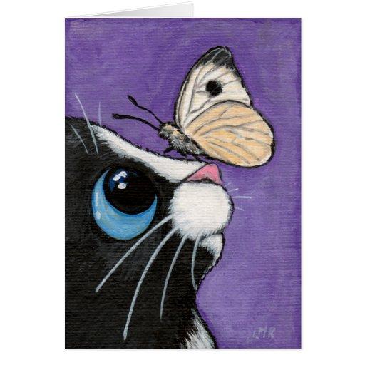 Gato del smoking y pintura blanca de la mariposa tarjeta de felicitación
