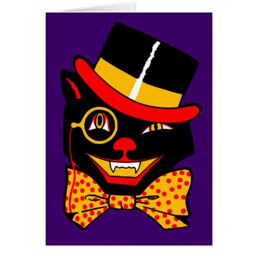 Gato del sombrero de copa tarjeta de felicitación