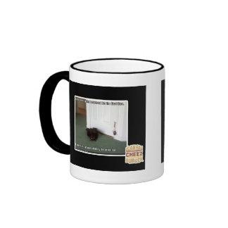 Gato del sótano, desorientado levemente taza de dos colores