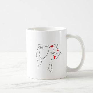 gato del suicidio taza básica blanca