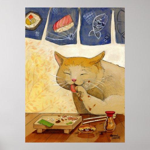 Gato del sushi hecho todo póster