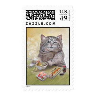 Gato del sushi - sellos del Udon del Tempura