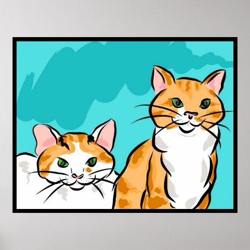 Gato del Tabby y de calicó Impresiones