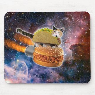 gato del taco y hamburguesa del cohete en el alfombrillas de ratón