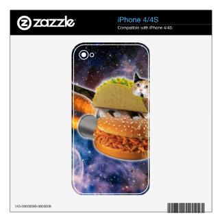 gato del taco y hamburguesa del cohete en el calcomanía para iPhone 4S