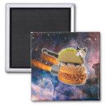 gato del taco y hamburguesa del cohete en el imán cuadrado