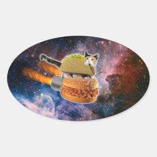 gato del taco y hamburguesa del cohete en el pegatina ovalada
