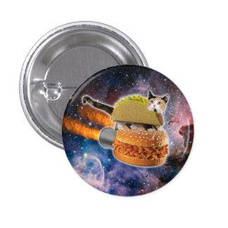 gato del taco y hamburguesa del cohete en el pin redondo de 1 pulgada