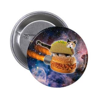 gato del taco y hamburguesa del cohete en el pin redondo de 2 pulgadas