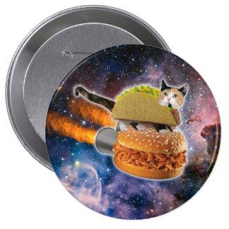gato del taco y hamburguesa del cohete en el pin redondo de 4 pulgadas