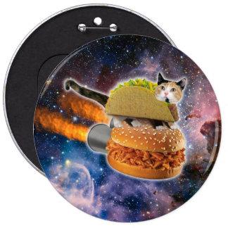 gato del taco y hamburguesa del cohete en el pin redondo de 6 pulgadas