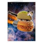 gato del taco y hamburguesa del cohete en el tarjeta de felicitación