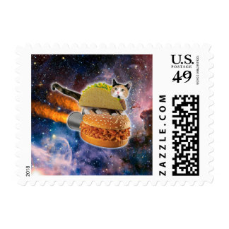 gato del taco y hamburguesa del cohete en el timbres postales