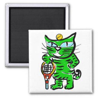 Gato del tenis iman de nevera