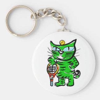 Gato del tenis llavero redondo tipo pin