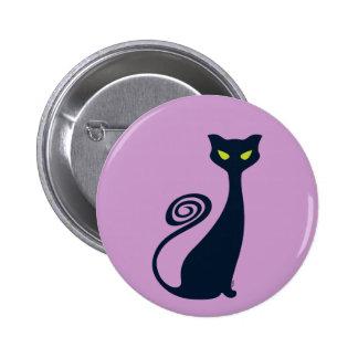 Gato del vampiro con los ojos verdes pin redondo 5 cm