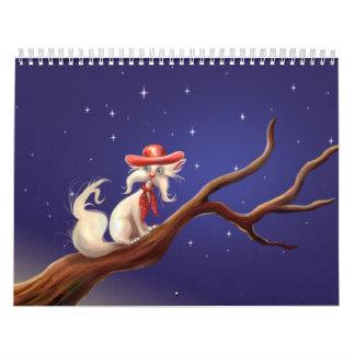 gato del vaquero calendario de pared