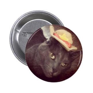 Gato del vaquero pin redondo de 2 pulgadas