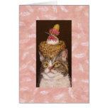 gato del vegano con la tarjeta del ópalo y de Veva